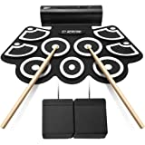 Lujex 9 Pads Portable Roll-up Electronic Drum Set Percussion Instrument Kit with Speaker for Kids (White&Black)