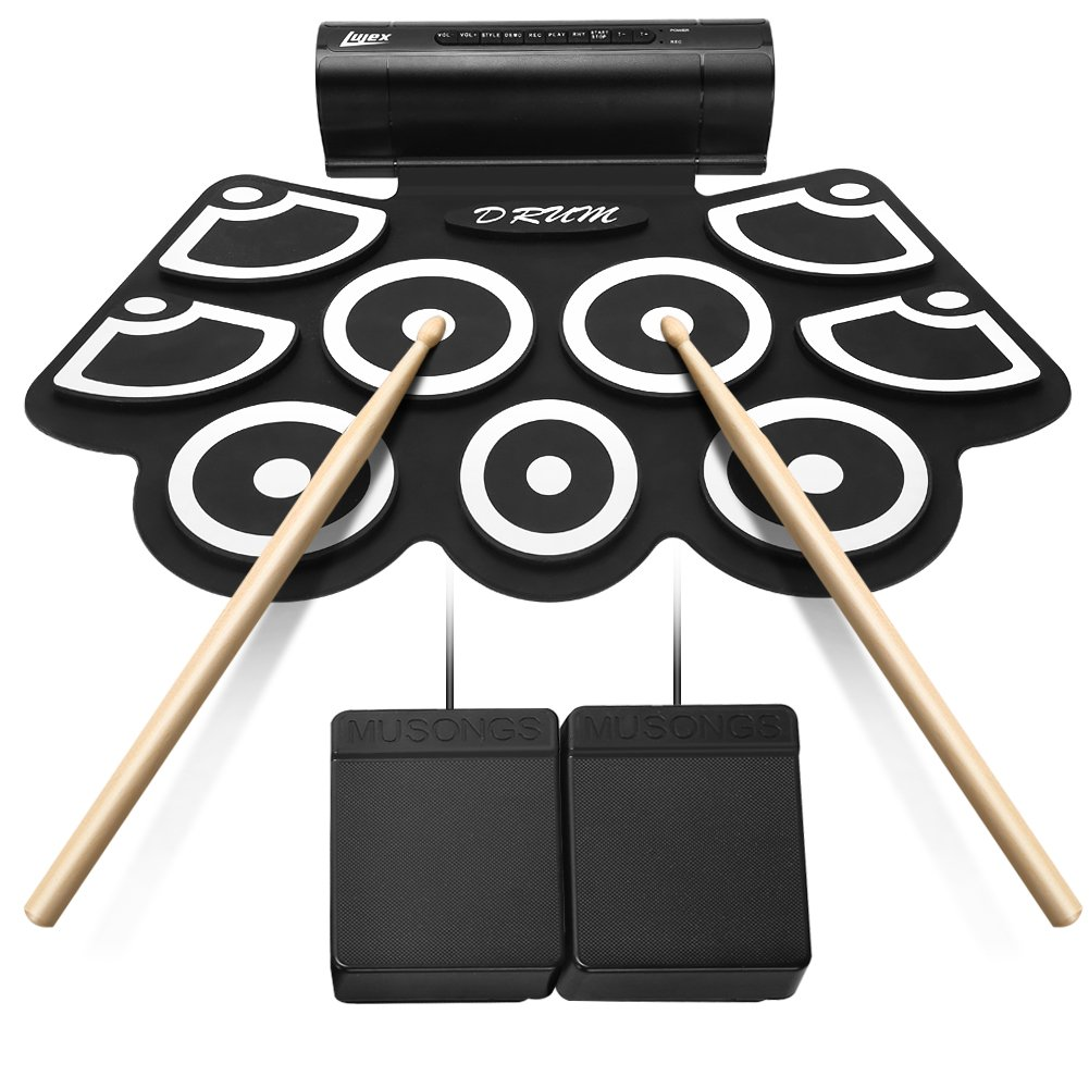 Electronic Drum Kits, Lujex 9 Pads Portable Roll Up Drum Pad for Kids Beginners, Foldable Practice Instrument with 2 Foot Pedals and Drum Sticks (Built-in Speaker) U201