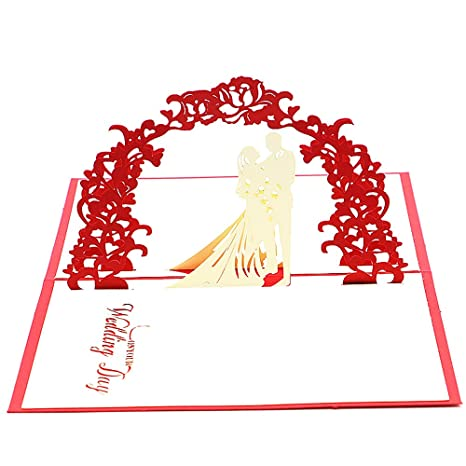 Amazon.com: Aukuzi Tarjetas de boda perfectas hechas a mano ...