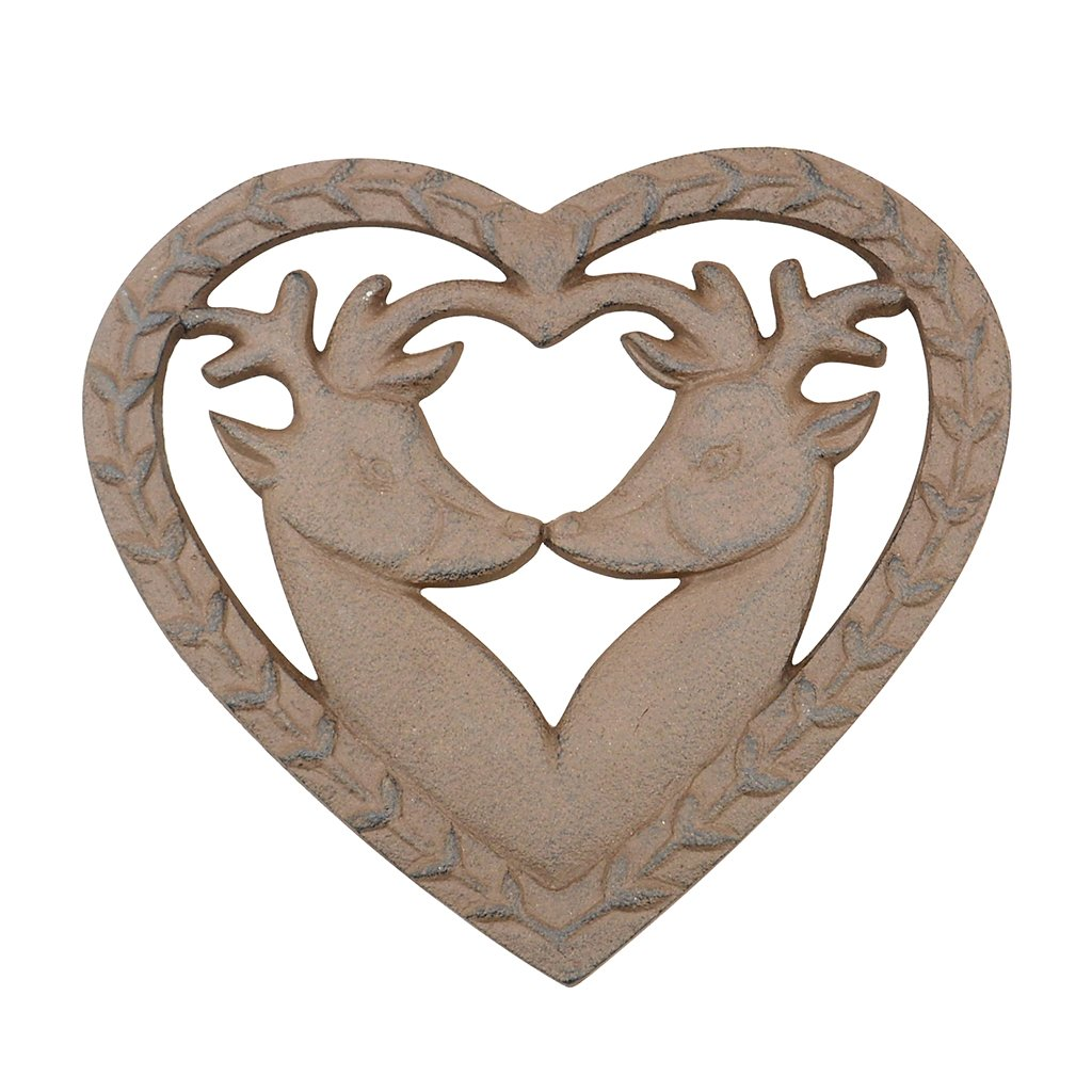 Cast Iron Heart Shaped Twin Deer Trivet - Vintage Style Woodland Stag Trivet with Heart Shaped Wreath Edges and Antique Brown Finish - Wonderful Gift Idea for Wedding, 6th Anniversary or Housewarming! (W17.5 x L16 x H1cm)