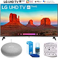 LG 55UK7700PUD 55 Class 4K HDR Smart LED AI UHD TV w/ThinQ (2018) + Google Home Mini - Chalk + LED TV Screen Cleaner + SurgePro 6-Outlet Surge Adapter w/Night Light