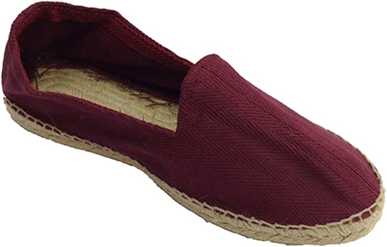 Alpargatas de Esparto Tela de Espiga y Suela de Goma por Debajo Made in Spain en Burdeos (Necesario Talla Extra): Amazon.es: Zapatos y complementos