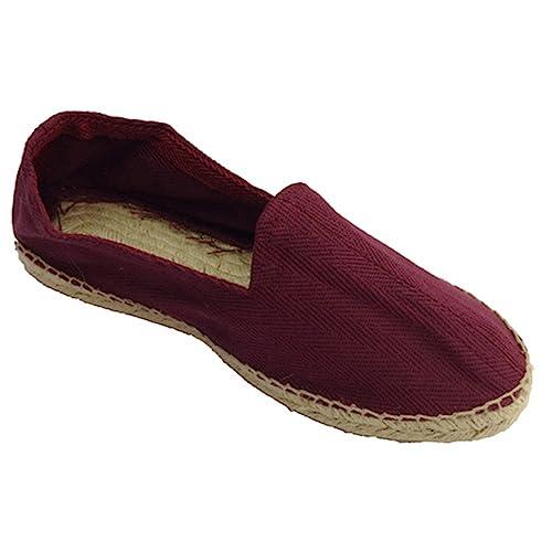 Alpargatas de Esparto Tela de Espiga y Suela de Goma por Debajo Made in Spain en Burdeos: Amazon.es: Zapatos y complementos