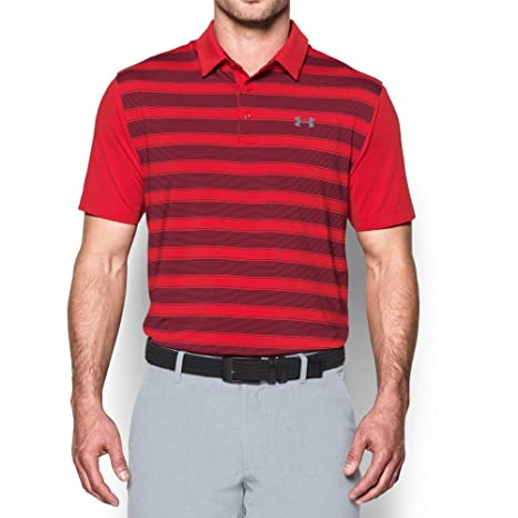 Under Armour Mens Flagstick Stripe Polo, Red (600)/Graphite ...