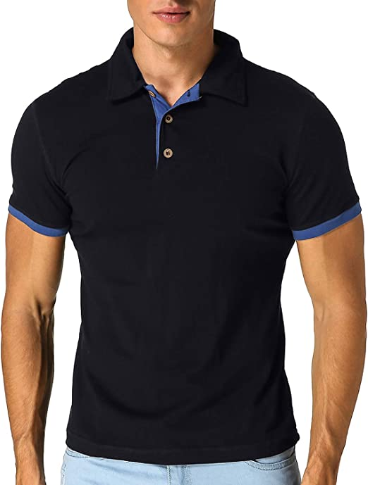 TALLA S. MODCHOK Hombre Polo Camiseta Manga Corta Henley Algodón Clásico Básico Botones