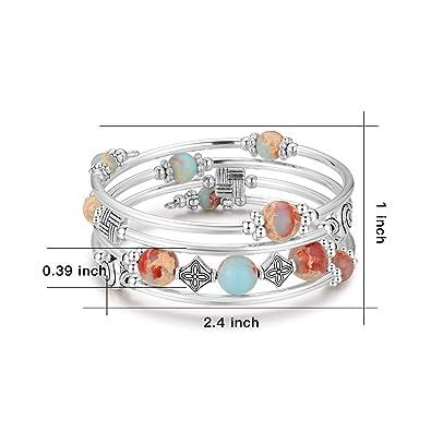 Beaded Pearl Bangle Wrap Bracelet