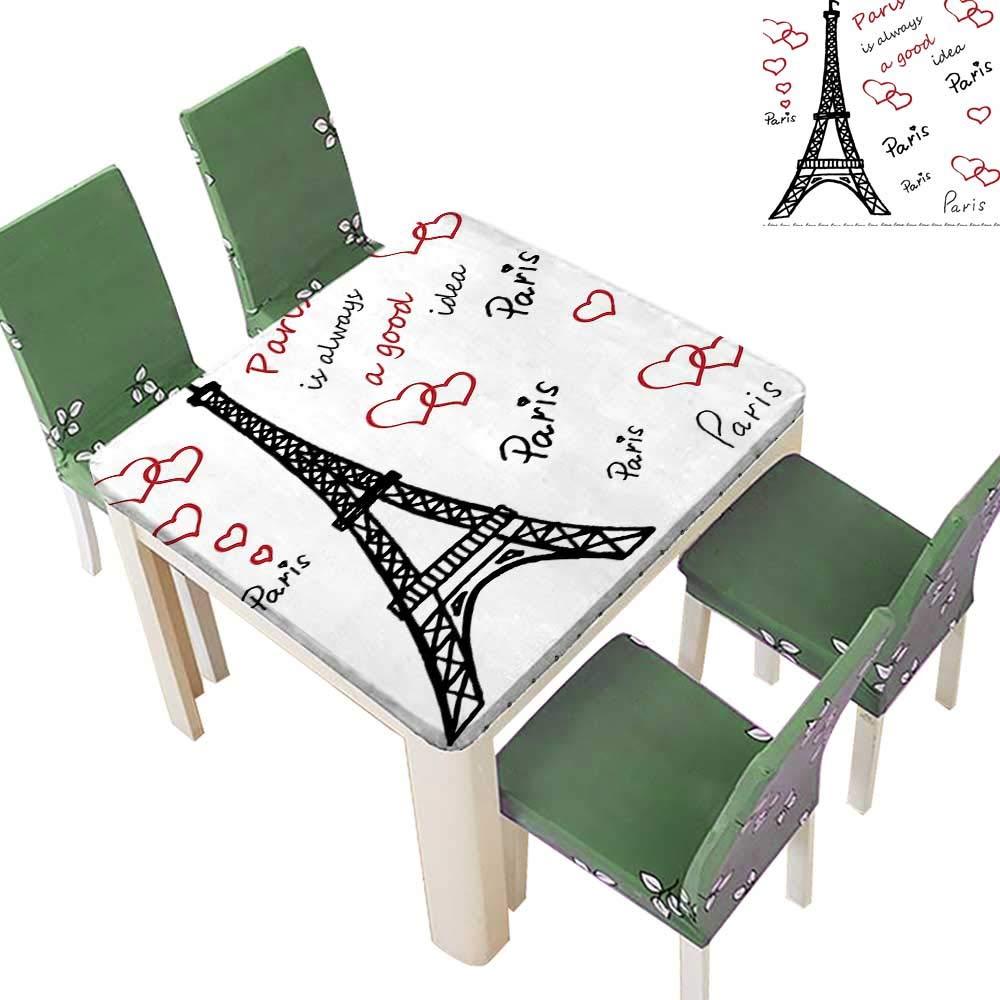 Printsonne Polyesters Tablecloth Eiffel Tower Paris Always Good Idea Tourism Locati Sweet Love Clip Wedding Birthday Party 23 x 23 Inch (Elastic Edge)