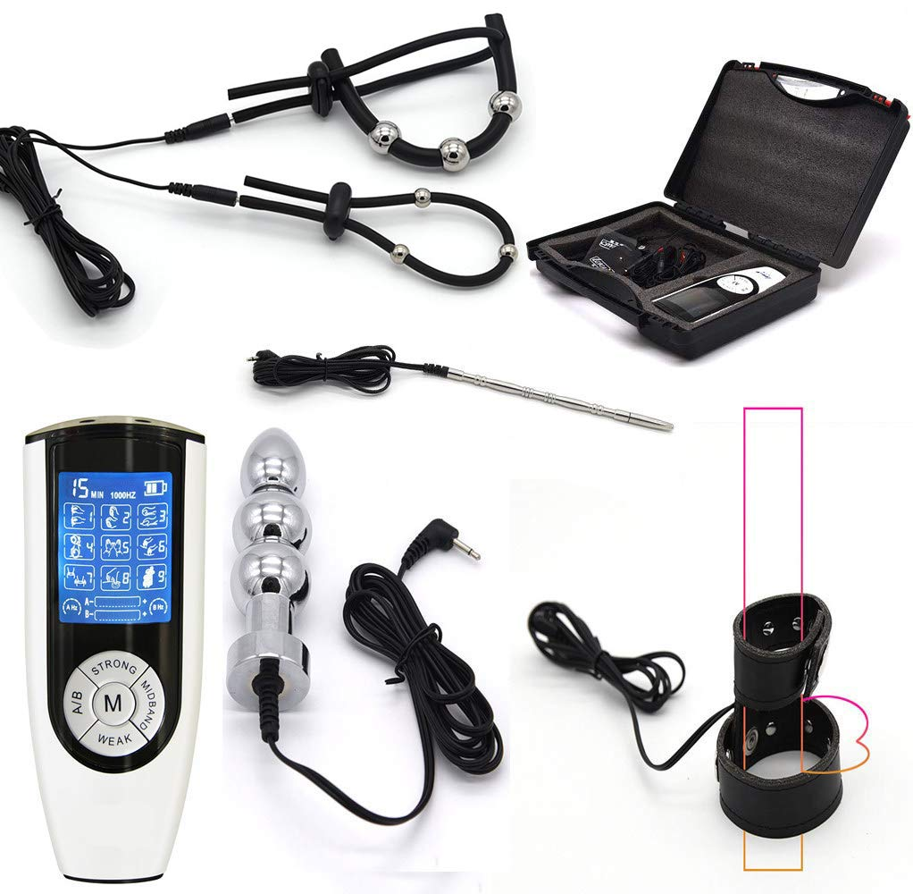 Luxury Electro Stimulation Masturbation Set, Electroshock Anal Plug, E-Stim Cock Ring, Urethral Dilator, 9 Modes 15 Frequencies, Electric Shock Device Sex Toys SM Sex Toys for Adult Men by HOUADDY