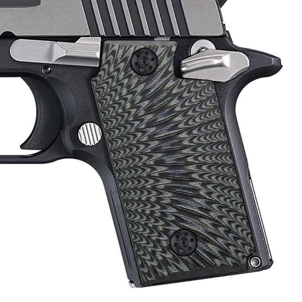 Cool Hand G10 Grips for Sig Sauer P238, Without Ambi Safety Cut, Sunburst Texture, Grey/Black by Cool Hand