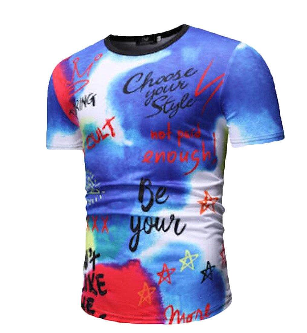 Abeaicoc Men Letter Print Casual Stylish Short Sleeve Tee T-Shirts