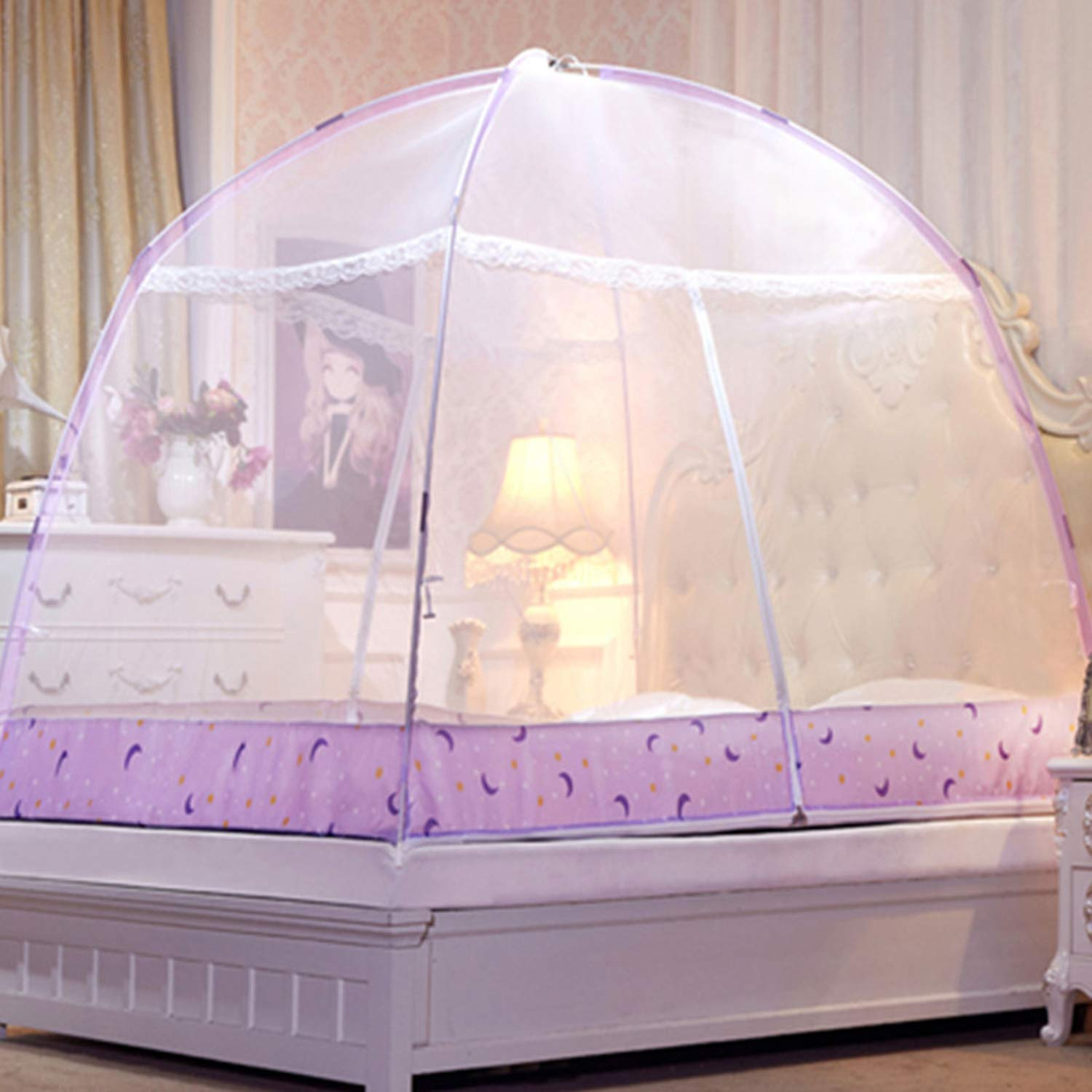 Romantic Purple Dome Mosquito Net Double Door Polyester Fabric Bed Netting Canopy Mosquito Netting Folding Netting Tent Bed,White,1.5m (5 feet) Bed by SuWuan mosquito net (Image #5)