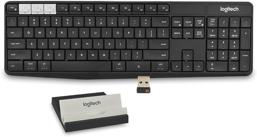 Logitech K375s 920-008166 - Soporte inalámbrico para teclado y teléfono (conexión USB, Bluetooth), color negro
