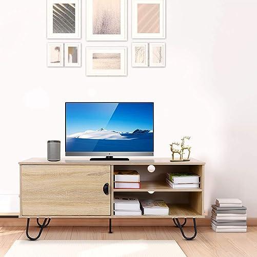 Greensen Wood TV Stand, Modern TV Cabinet with Sotrage Shelves for Bedroom Living Room Office, TV Stand Storage Cabinet for Home Office Furniture, Oak