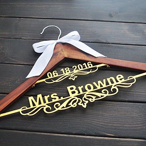 Bride Hanger, Personalized Wedding Hanger , Dress Wedding Party Gift, Bridesmaids Gift, Double Hanger,Wedding Name Hanger Gold color