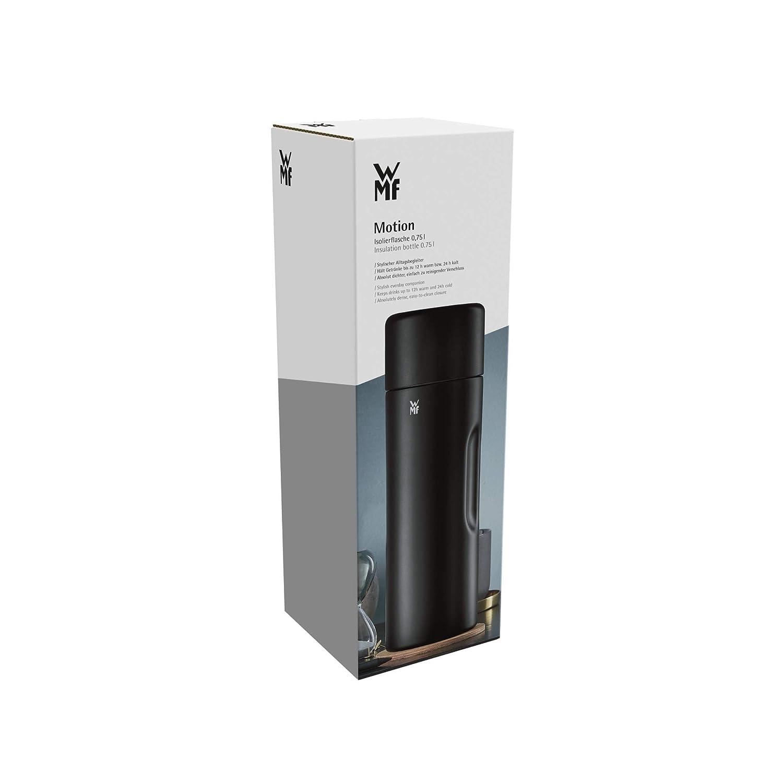 WMF Motion 0,75 L, Negro, De pl/ástico, Silicona, Acero inoxidable, 12 h, 24 h, 86 mm Termo