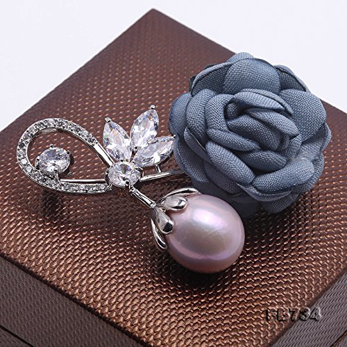 JYX Rose-style Brooch Round Lavender Freshwater Pearl Brooch Pin by JYX Pearl (Image #4)