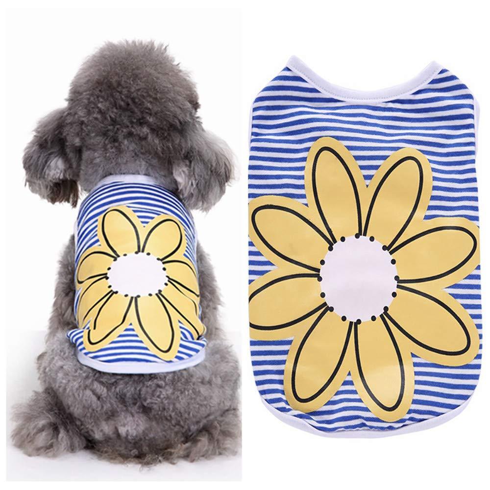 8710f7a593d5 Amazon.com   callm Dog Clothes 2019 New Dog Vest Pet Dog Blue Striped  Sunflowers Vest Dog Cat Summer Clothes   Pet Supplies