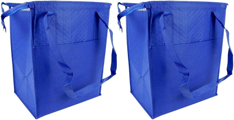 Cooler Thermal Tote Bag - Grocery Shopping Tote - Tote Bag for Hot and Cold Reusable Shopping Catering Refrigerated and Frozen Food Transport Delivery, Cold Foods, Travel, Picnic - Blue - Lot of 2.