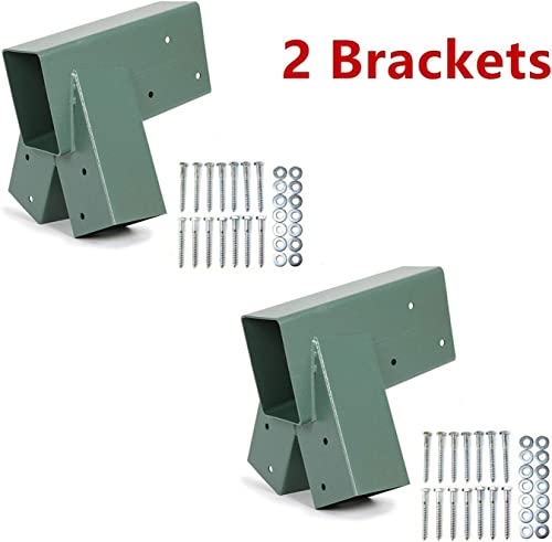 ECOTRIC Heavy Duty Steel A-Frame Swing Set Mounting Bracket Green, All Mounting Hardware Included 2 Sets