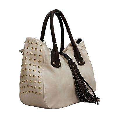 Womens Designer Office Faux Leather Tote Bag Ladies Shoulder Handbag Work  New Beige  Amazon.co.uk  Shoes   Bags 25ef99d20bccf