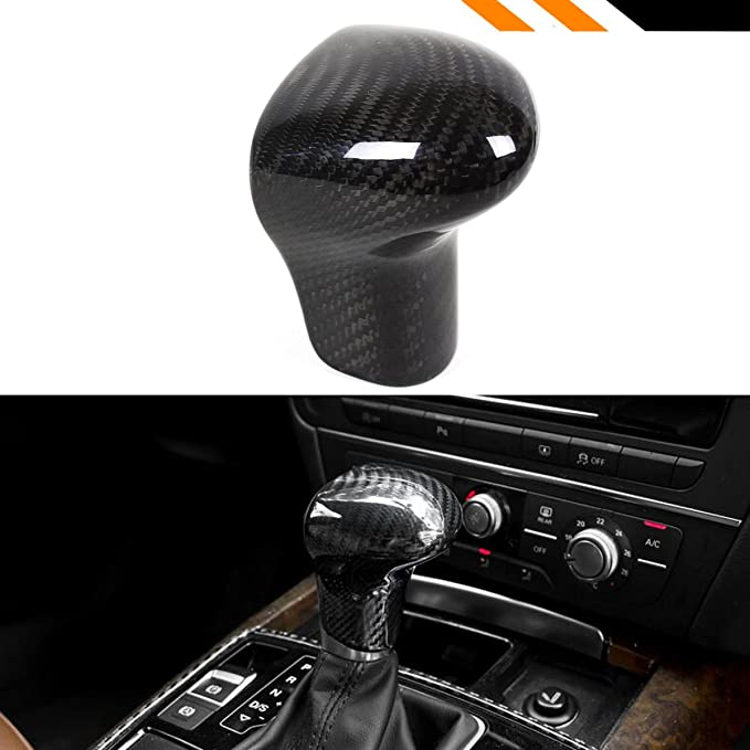 X AUTOHAUX Gear Shift Knob Sticker Cover Shell Carbon Fiber Pattern for Audi A4 A5 Q7 2013-2016 for A6 A7 2012-2015
