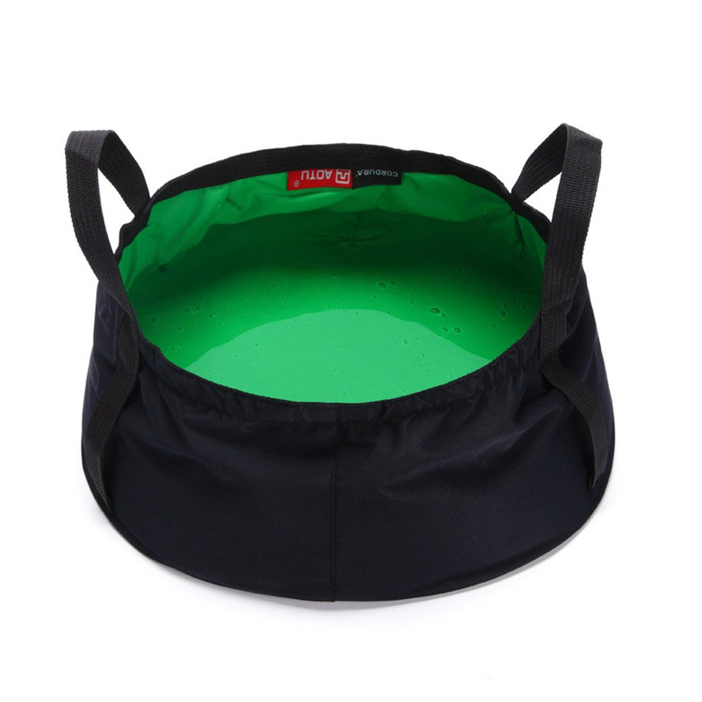 Collapsible Bucket Camping,MeiLiio 8.5L Multifunctional Bucket Ultralight Sink Travel Outdoor Folding Wash Basin for Travelling Washing Camping Hiking Fishing-Green
