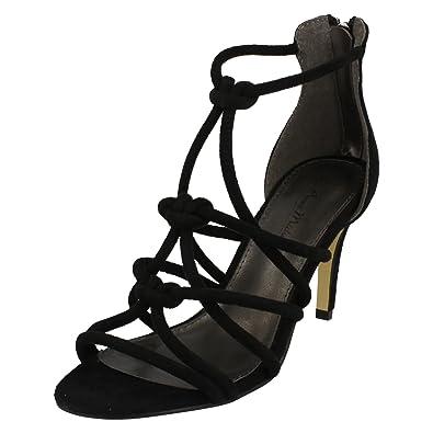 8c232b54c402 Anne Michelle Ladies Strappy Heeled Sandals - Black Textile - UK Size 3 -  EU Size