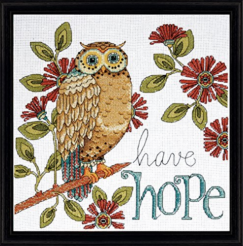 14 Count Heartfelt Have Hope Owl Counted Cross Stitch Kit, 10 by 10-Inch - Tobin DW2790