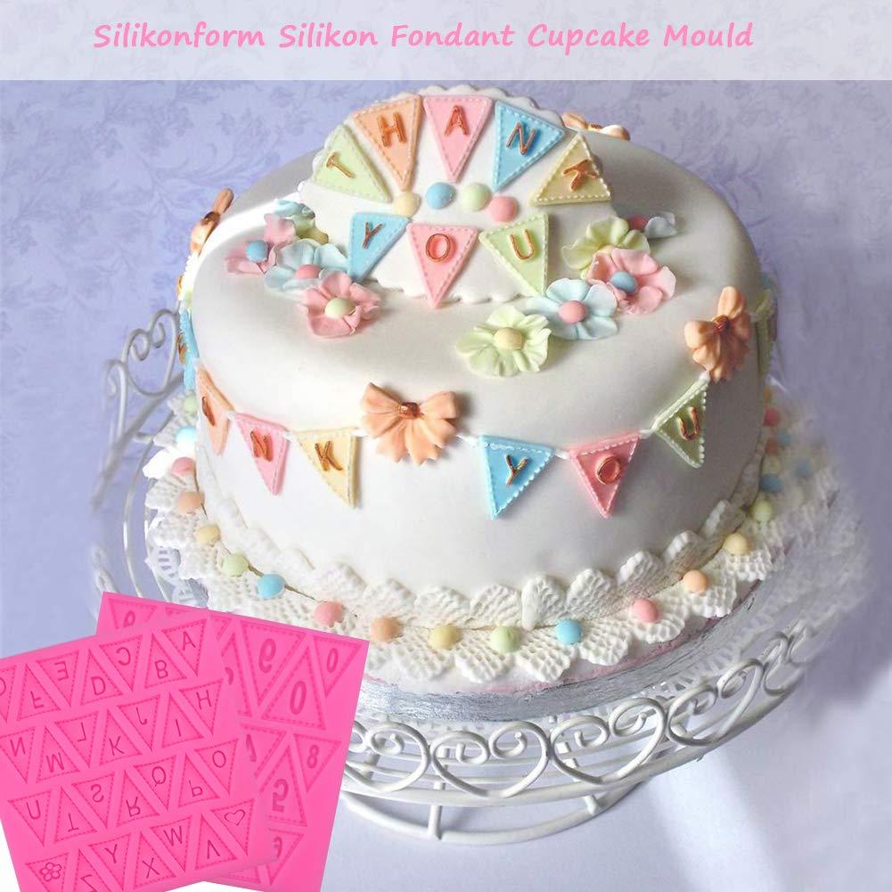 N/úmeros y letras BESYZY 2PCS Molde De Silicona Moldes para Tartas Fondant Tarta Baking torta del silic/ón 3D molde para pastel de pasta de az/úcar que adorna