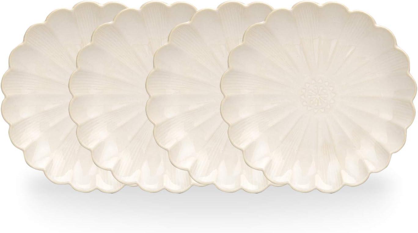 MDZF SWEET HOME 8.5-Inch Ceramic Dinner Plates Set Pizza Pasta Serving Plates Glaze Dessert Dishes Unique Tableware Set of 4, White