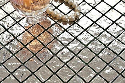 Textured argento vetro mosaico piastrelle da parete mt