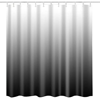 Modern Black Shower Curtain FabricBlack Ombre Textured Grey Natural Art Print Home Bath