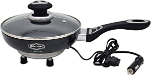 RoadPro 12V Power Supply Portable, Travel Frying Pan with Non-Stick Surface