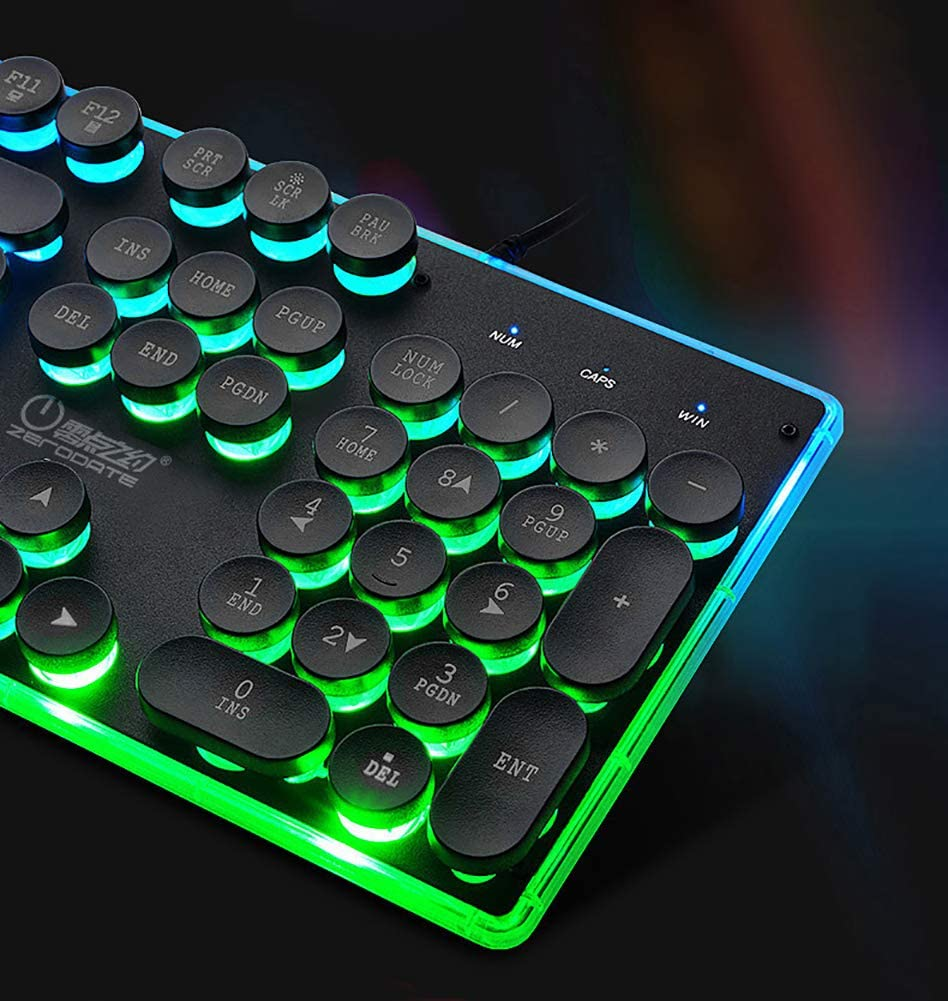 ChezMax Punk Wired Computer USB Keyboard Only Quiet and Compact Ideal for Game