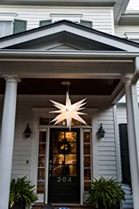"""Elf Logic - 30"""" Large White Moravian Star Hanging Outdoor Christmas Star Light, Holiday Decoration, Porch Light, 3D Fixture, Advent Star (30 Inch - Easy Assembly)"""