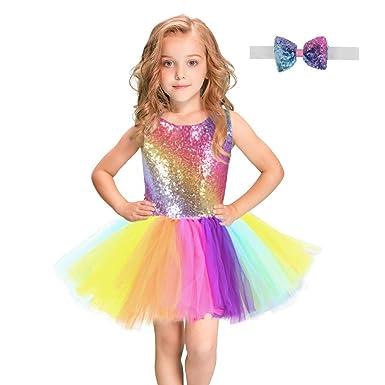 ALISIAM Niños Bebé Niña Colorido Tulle Rainbow Princess Dress ...