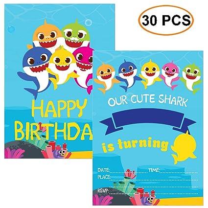 30 Tarjetas De Invitación Con Diseño De Tiburón Para Fiestas