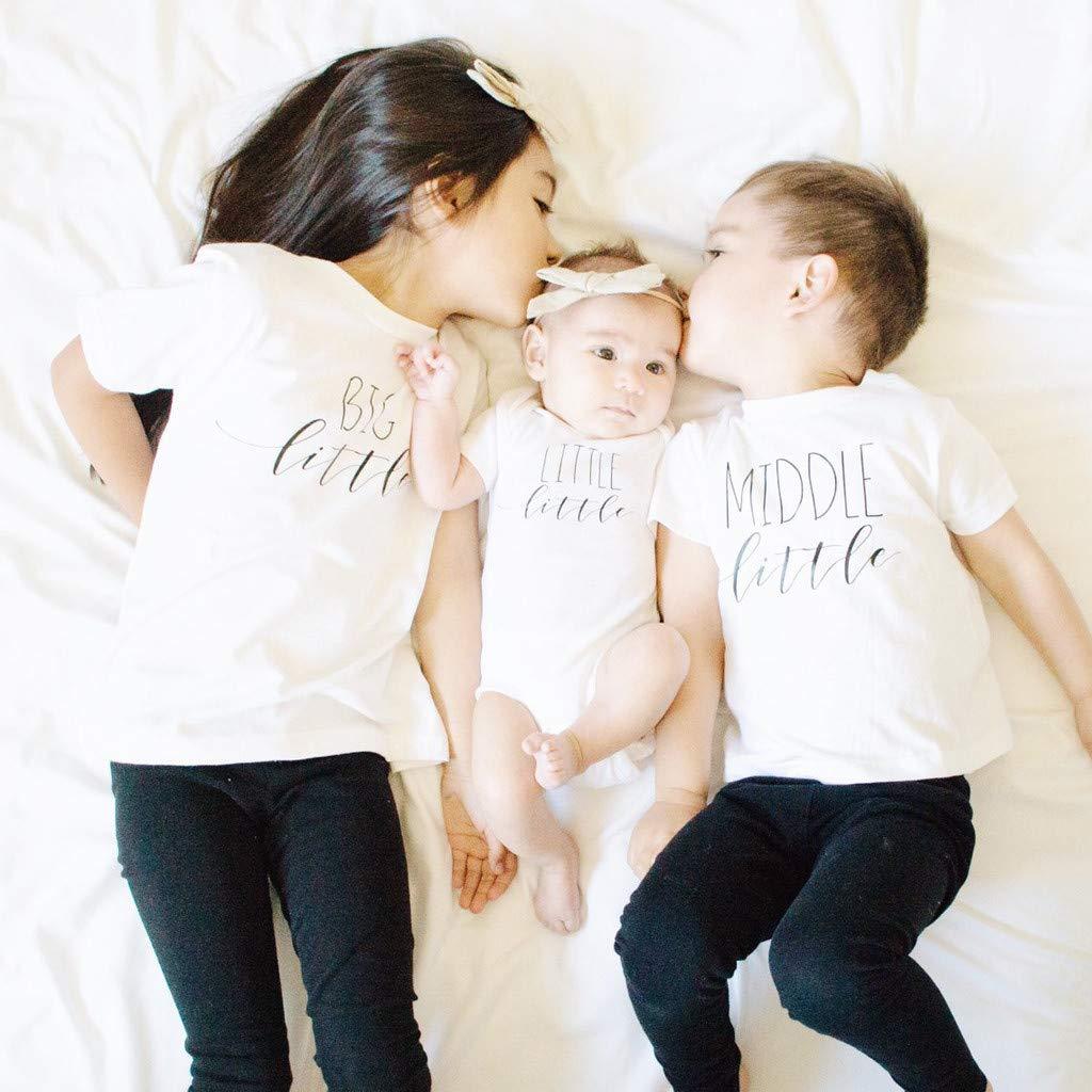 Kleinkind scherzt Baby-Jungen Mittleres kleines Geschwister-Set passende T-Shirts Tops Kurzarm T-Shirt HEETEY Kinder T-Shirt Sommer Oberteile