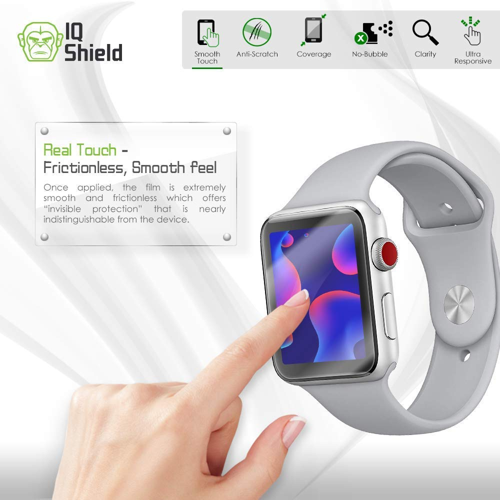 Apple Watch Screen Protector (38mm)(Apple Watch Nike+, Series 3/2/1 Compatible)[Ultimate](6-Pack), IQ Shield LiQuidSkin Full Coverage Screen Protector [HD Clear Anti-Bubble Film] by IQShield (Image #5)