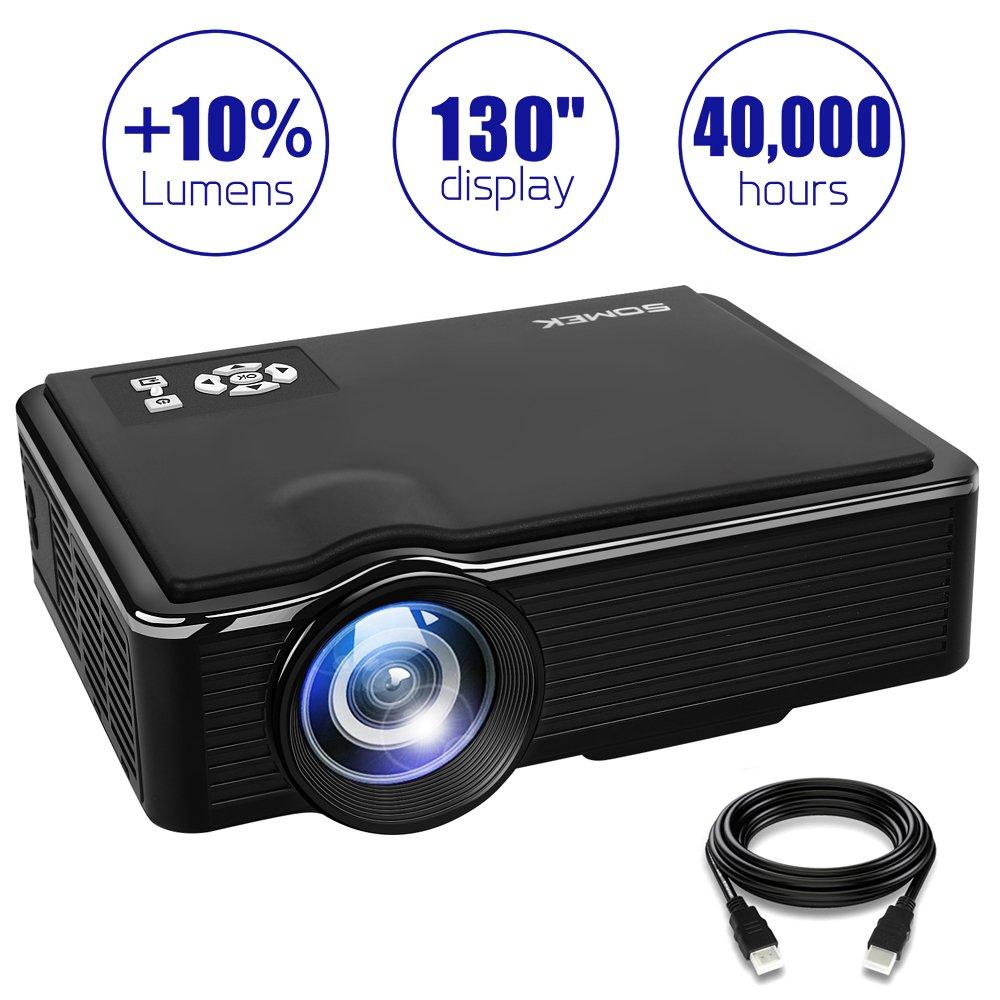 Projector 2400 Lumens LED Mini 1080P Projector, Portable Movie Projector HDMI USB TF VGA AV, Multimedia Home Theater HDMI Cable-SOMEK K99(Black)