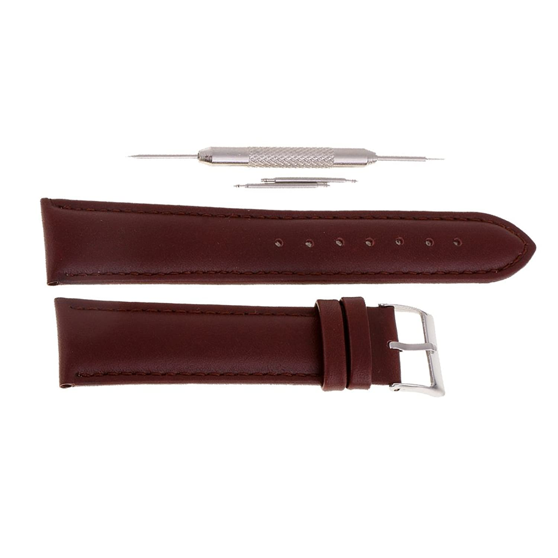 MagiDeal本革時計ストラップ腕時計バンド交換20 mmメンズレディースのコーヒー  B07437QTJX