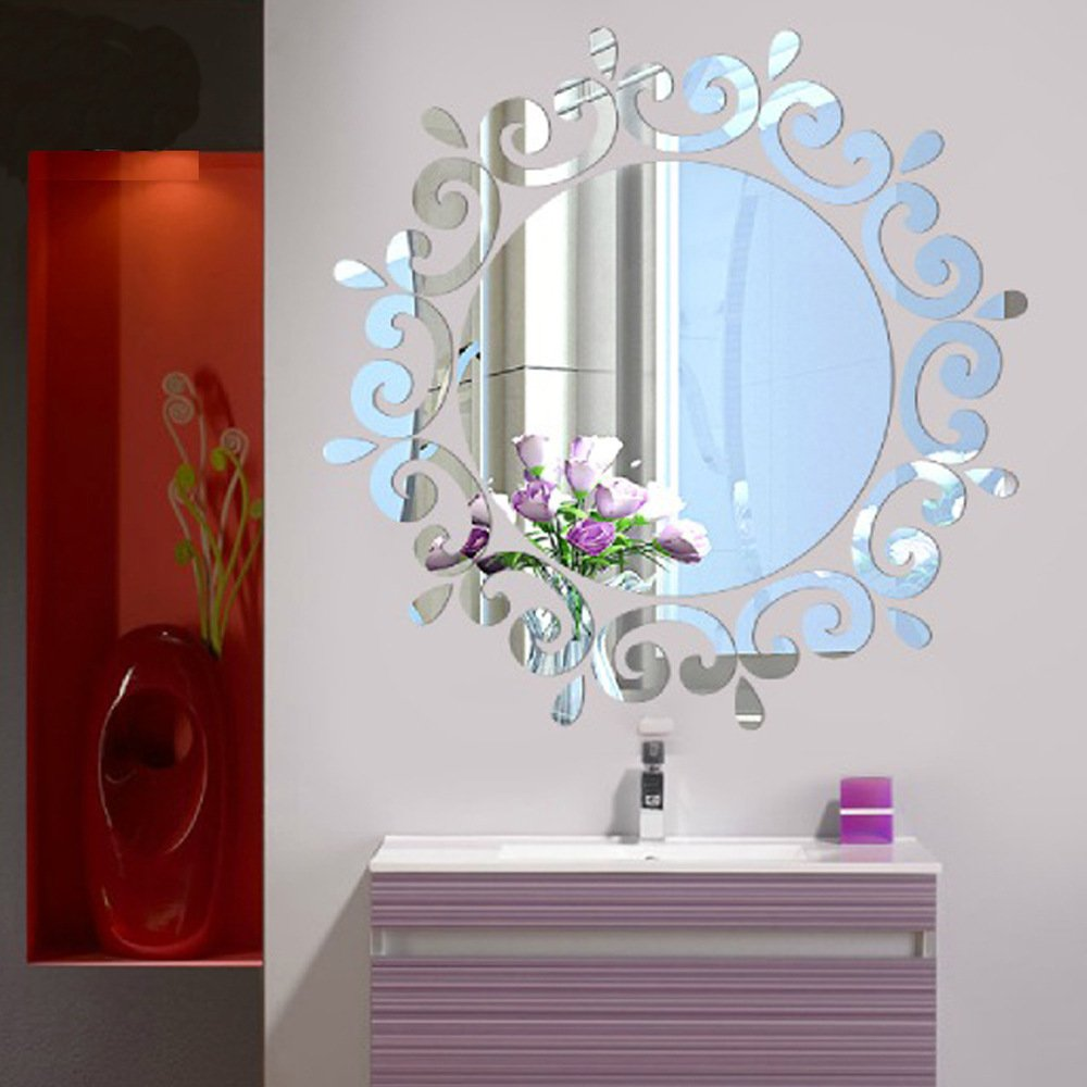 Alicemall Acrylic 3D Stereo Wall Sticker Living Room Decoration Stickers Bathroom DIY Mirror Sticker (silver mirror)