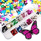 1 Box Butterfly Glitter Nail Sequins,12 Colors 3D