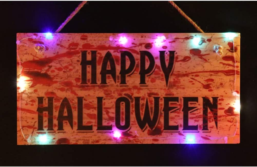 OYEFLY Hanging Lighted Glowing Halloween Sign Trick or Treat Wooden Plaque Board for Haunted House Holiday Sign, Wood Plank Design Hanging Sign (Style 1)
