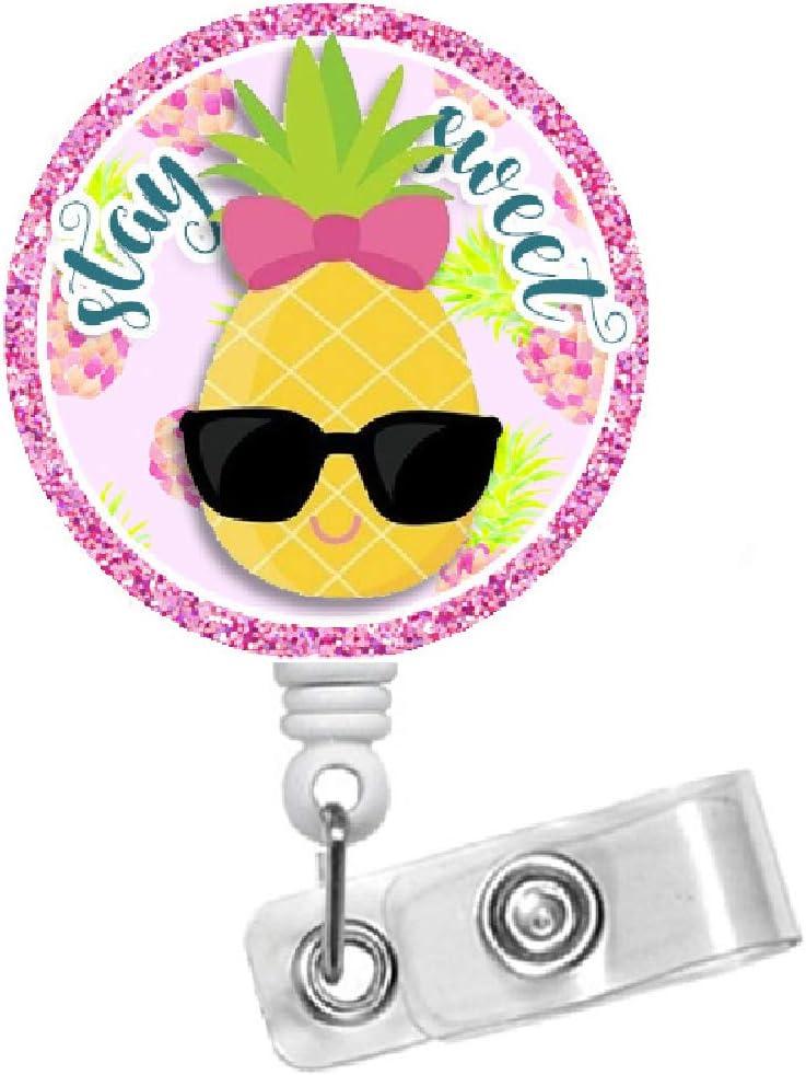 Nurse Badge Reel RN Hawaii Badge Reel RD Badge Holder Fruit Badge Reel Dietitian Badge Penny Pineapple Badge Holder Alligator Swivel Clip