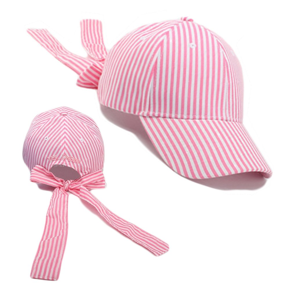 FuzzyGreen Bowtie Baseball Cap, Trendy Stripe Casual Summer Sun Hat for Teenager Girl Boy Youth Couple Lovers Students (Pink)
