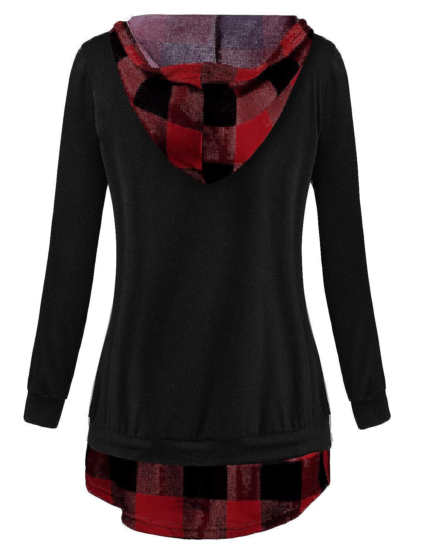 Kimmery Woman Long Sleeve V Neck Drawstring Plaid Patchwork Sweatshirt Hoodie