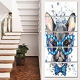 Designart MT13363-401V Cute French Bulldog with Glasses - Animal Glossy Metal Wall Art,Grey,28x60