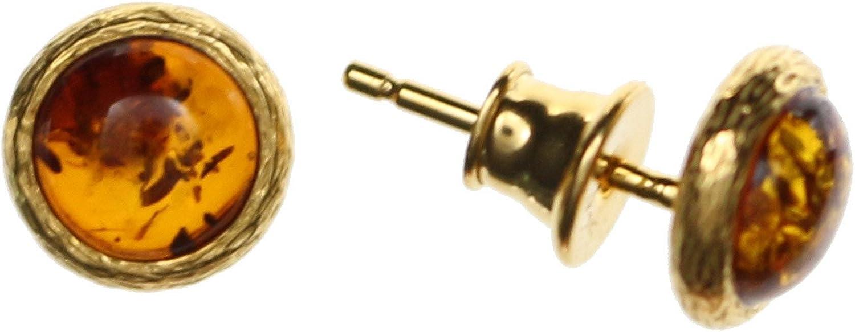 Pendientes con ámbar de Artisana-Schmuck, pequeños pendientes redondos de plata de ley 925/000 chapados en oro