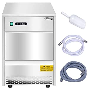 Costway Automatic Ice Maker Portable Ice Maker Machine Stainless Steel Commercial Freestanding Ice Machine (70 lbs/24h)